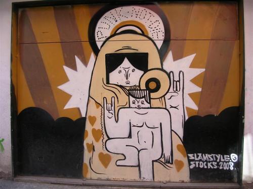 Virgen con niño. Grafiti 81.