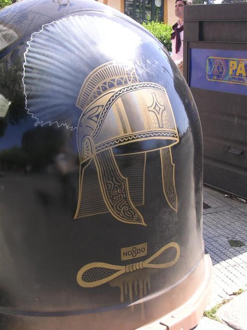 Casco de romano. Casco de armao de la Macarena. Grafiti 87.