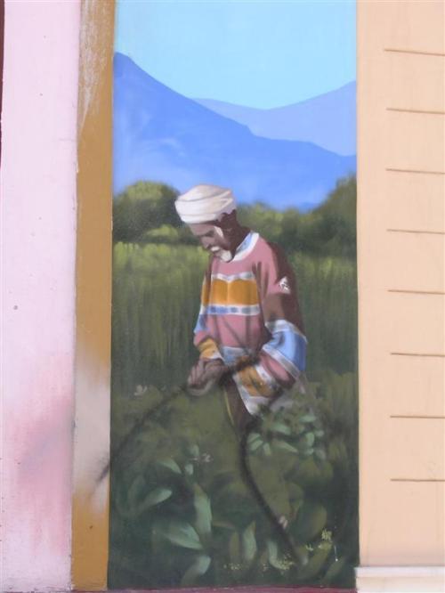 Anciano recolectando te. Casa del Té (IV). Grafiti 124.