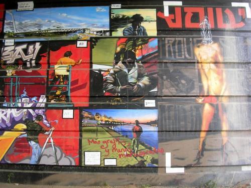Muro. Firma Axel+Ed+Ionni+Slk+Fafa. Bajos del Puente del Alamillo. Grafiti 141