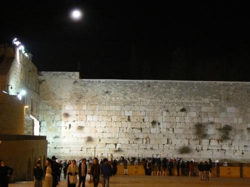 Foto nocturna del Muro de las Lamentaciones de Jerusalem – Israel