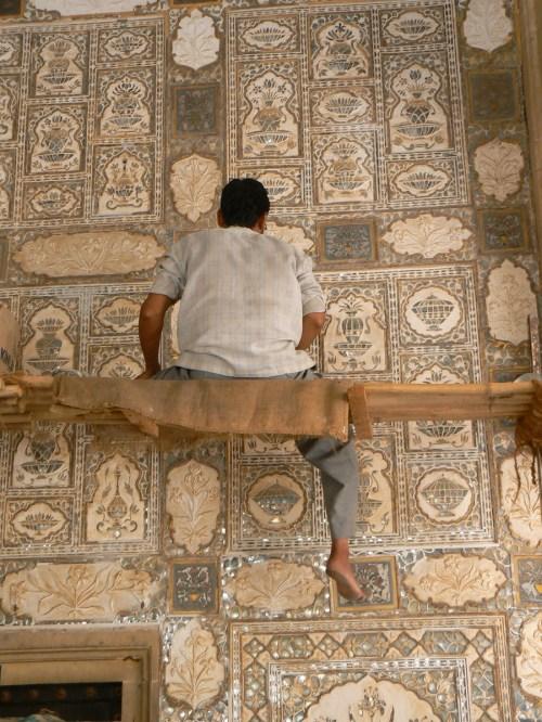 Fotos Restaurando Jai Mandir o Divan-i-Khas, Sala del Consejo Real del Fuerte Amber - India. Foto por martin_javier